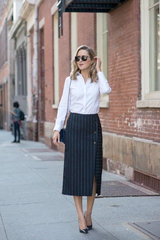Tinute office cu fusta si bluza eleganta