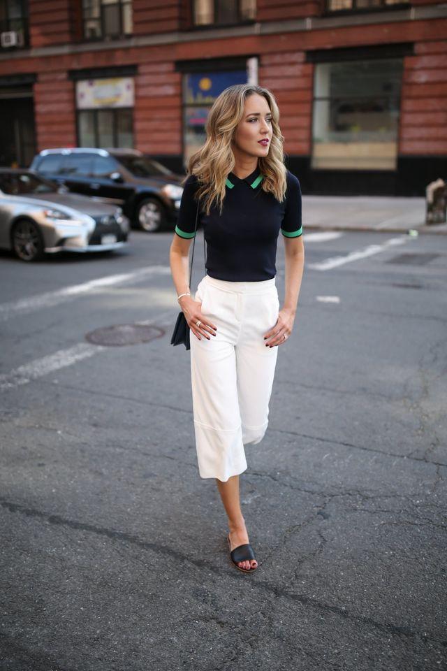 Tinute office de vara cu pantaloni albi