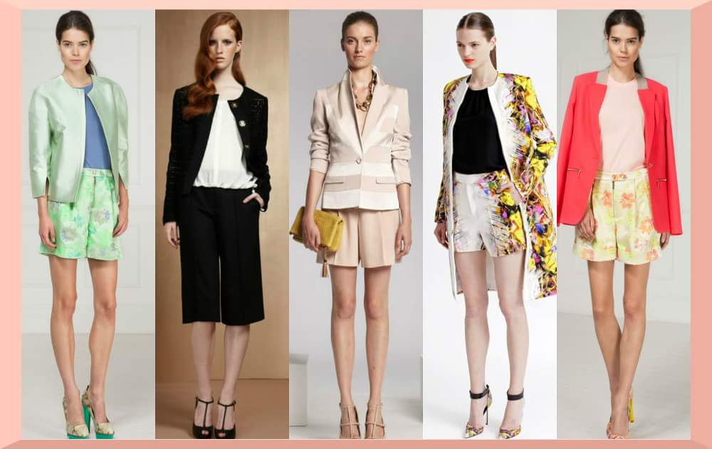 Idei tinute office: pantaloni scurti si o bluza eleganta