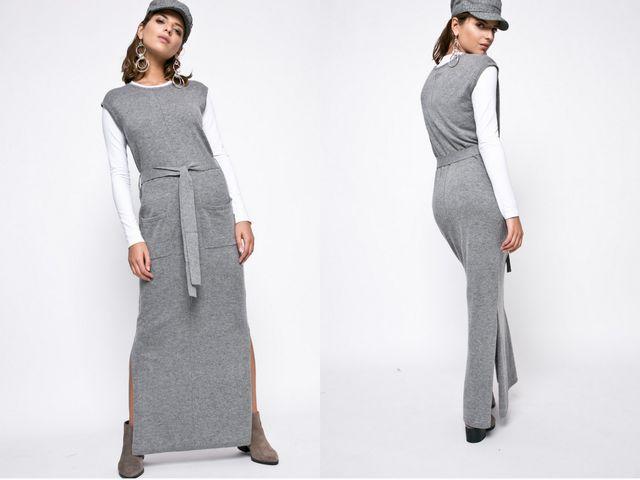 Rochie lunga gri cu cordon in talie