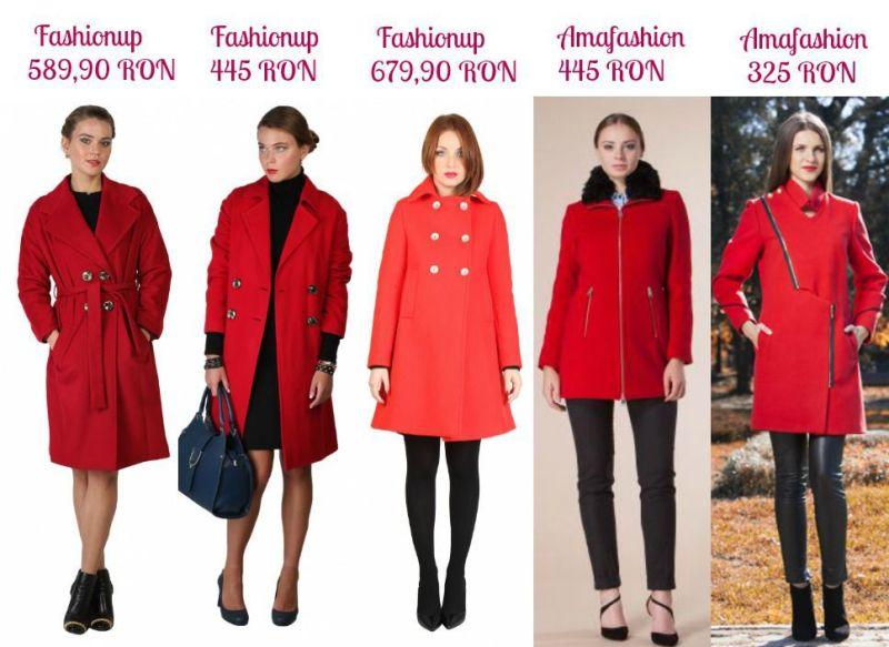 Palton roșu damă