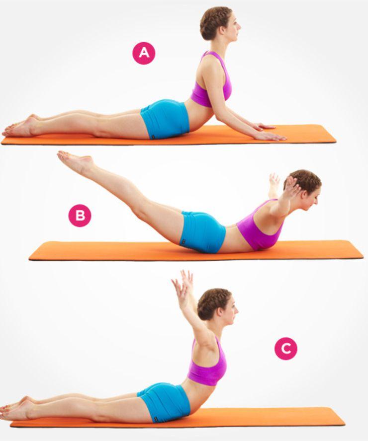 Exercitii pilates pentru spate in pozitie de lebada