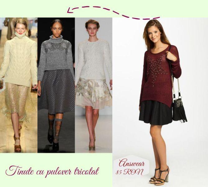 Idei tinute de Craciun pentru dame : tinute cu pulover tricotat