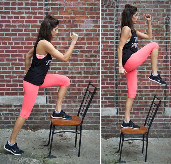 Exercitii pentru slabit picioare folosind scaunul
