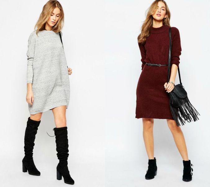 Idei tinute casual de primavara cu rochii tricotate la moda in 2016