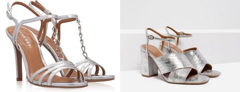 Sandale argintii cu toc pentru femei