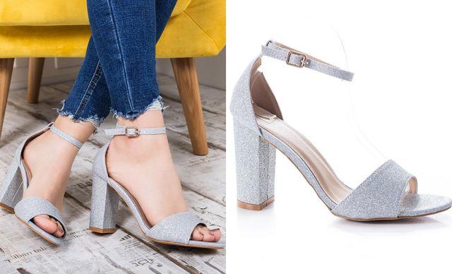 Modele de sandale argintii cu toc