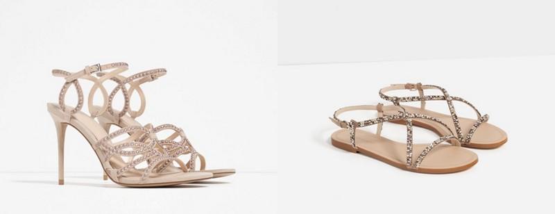 Sandale crem cu pietre elegante