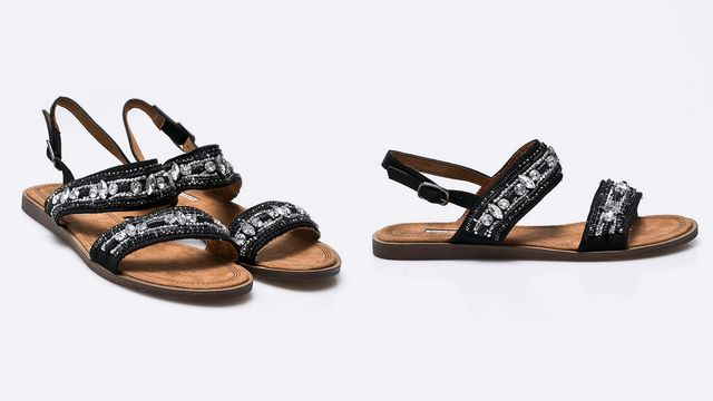 Sandale cu pietre fara toc