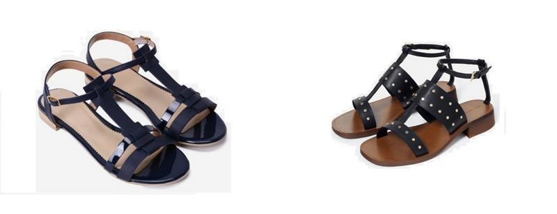 Sandale piele fara toc