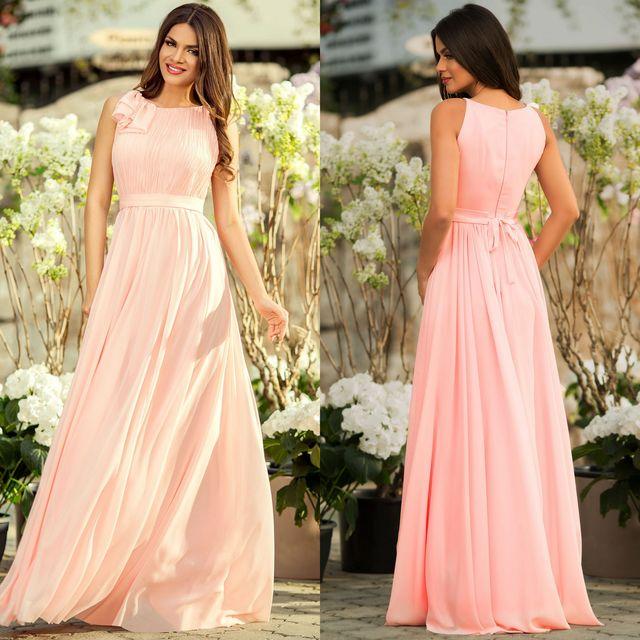 Rochie roz de ocazie lunga vaporoasa
