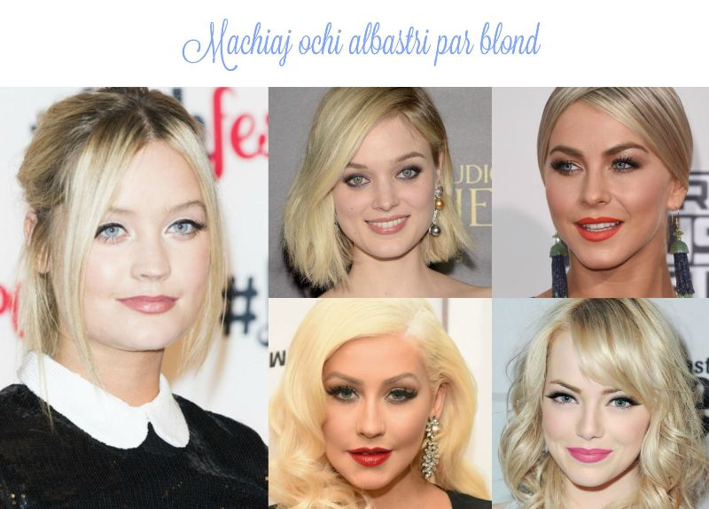 Machiaj ochi albastri par blond