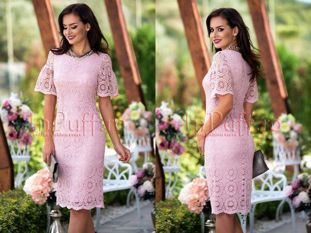 Rochii de ocazie de zi roz la moda toamna