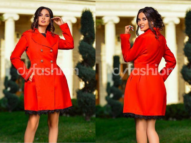 Jacheta dama rosie cu cordon in talie