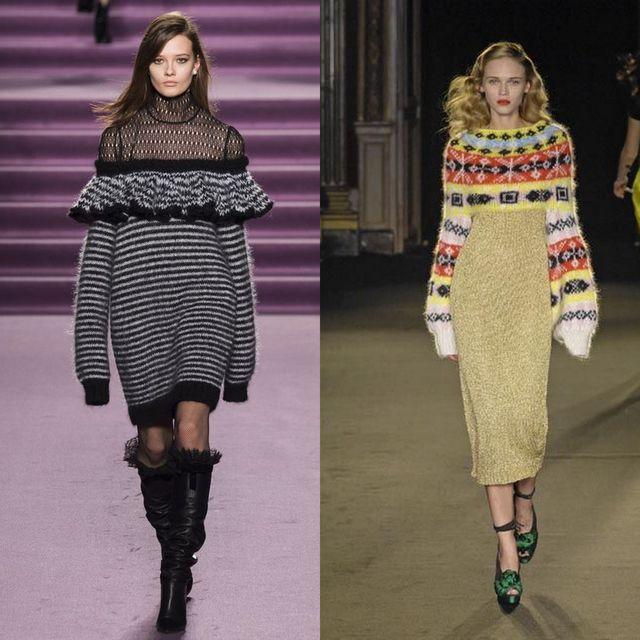 Rochii tricotate la moda 2017 | Rochii pulover cu maneca lunga