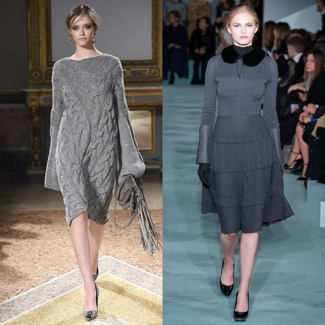 Rochii tricotate elegante de culoare gri