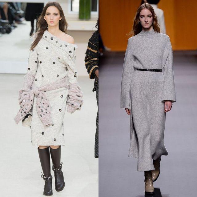 Rochii tricotate la moda 2017 | Rochii pulover de culoare gri