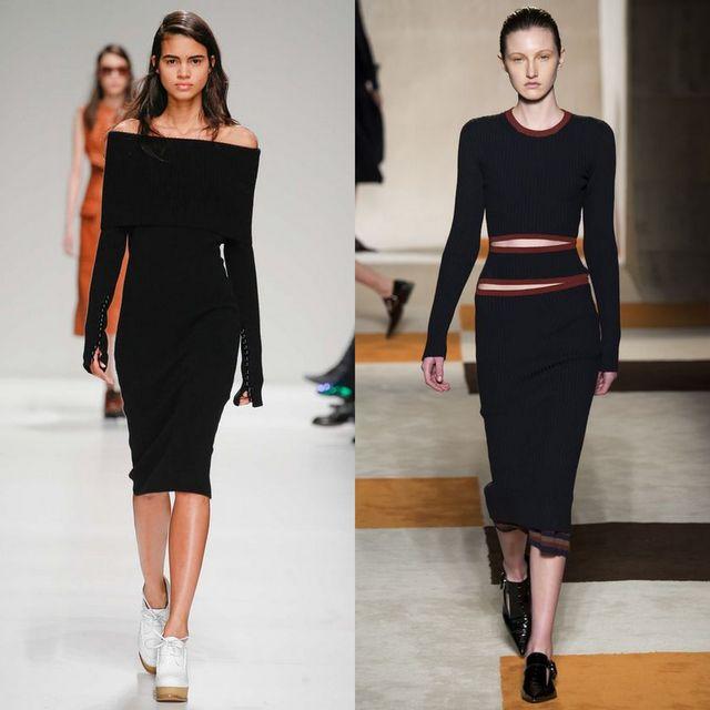 Rochii tricotate la moda 2017 | Rochii tricotate negre midi