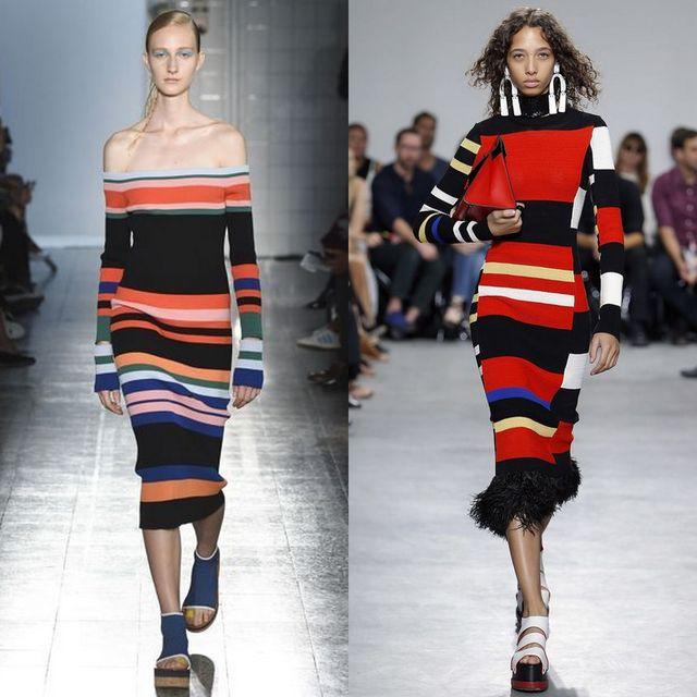Tinute cu rochii tricotate cu dungi mari