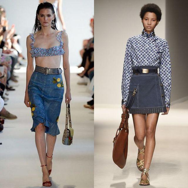 Fuste de blugi la moda primavara vara 2017