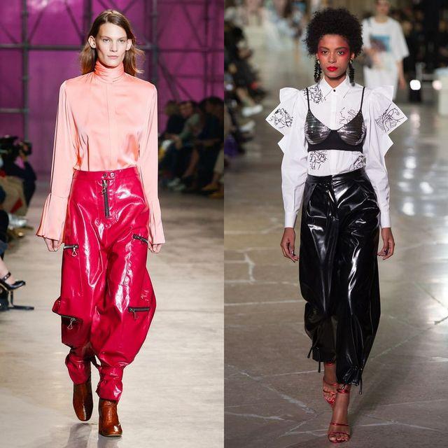 Pantaloni bufanti din piele pentru femei