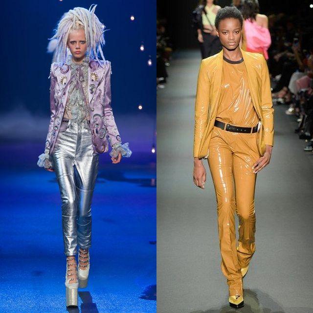 Pantaloni drepti din piele pentru femei