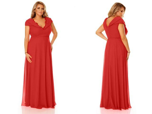 Rochii de seara rosii, lungi pentru plinute