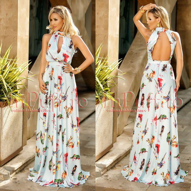 Modele rochii elegante de seara lungi cu imprimeuri