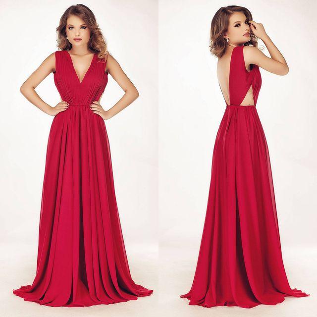 Rochii elegante lungi din material rosu
