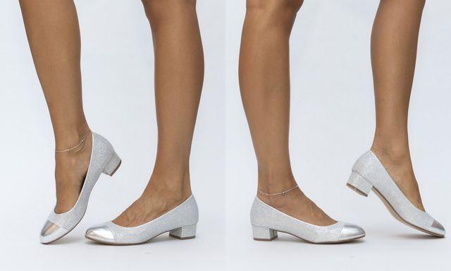 Pantofi fara toc argintii pentru toamna