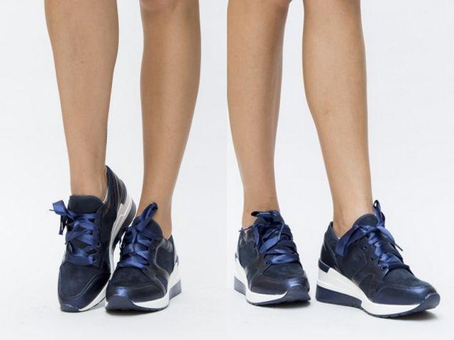 Pantofi sport de toamna cu siret din matase albastra