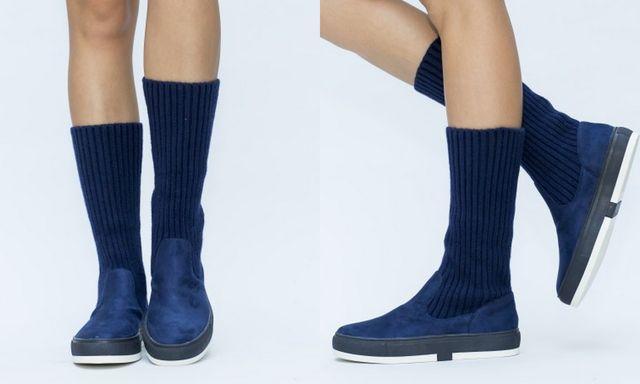 Pantofi sport albastri de tip soseta