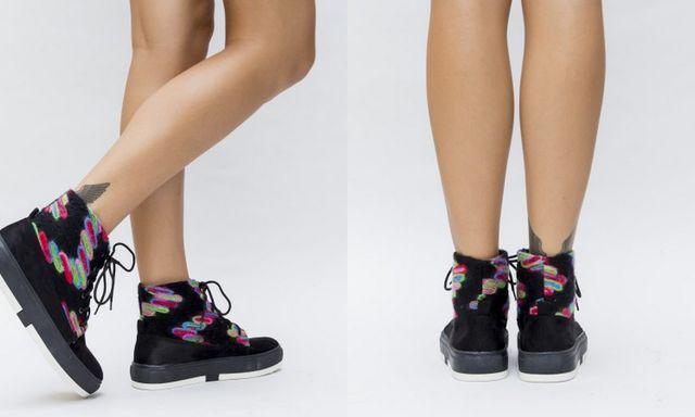 Pantofi sport tip gheata cu ornamente