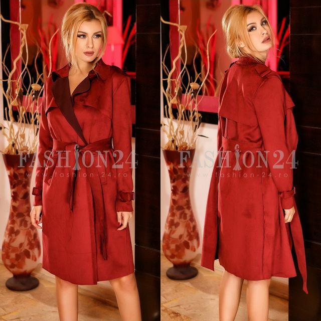 Palton rosu cu cordon in talie