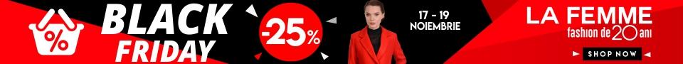 Reduceri de 25% la orice produs de pe site-ul LaFemme.ro pe parcursul perioadei de desfasuare a campaniei Black Friday 2017