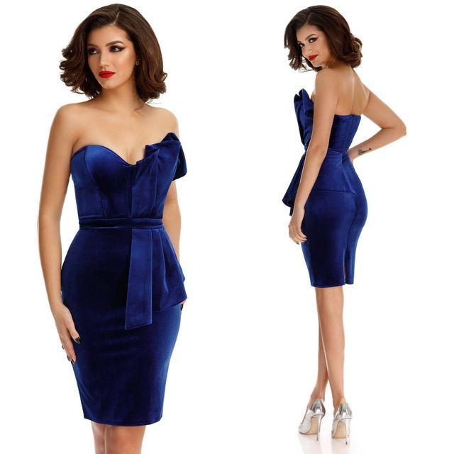 Rochie de seara midi din catifea albastra