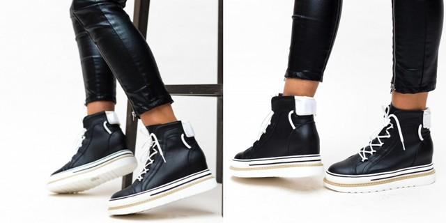 Pantofi sport tip gheata negri cu talpa alba