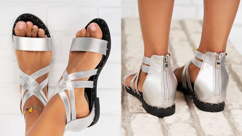 Sandale argintii fara toc