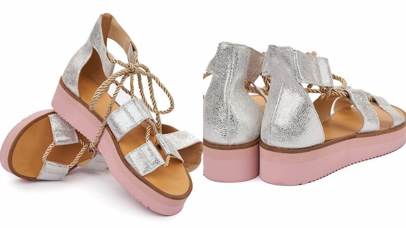 Sandale argintii pentru fete