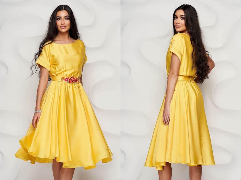 Tinuta de nunta cu rochie galbena pentru femei plinute